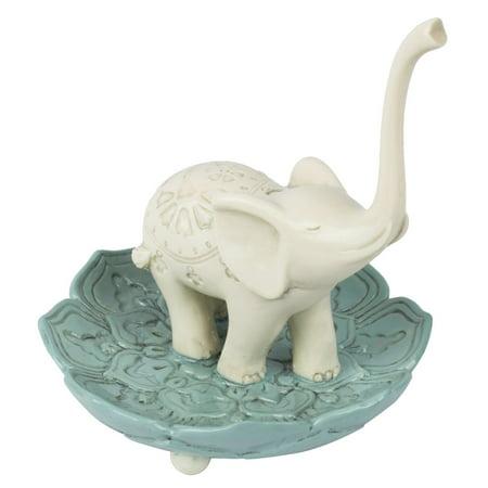 Elegant Ceramic Good Luck Elephant Jewelry Ring Holder, White / Teal, Medium, 3.5