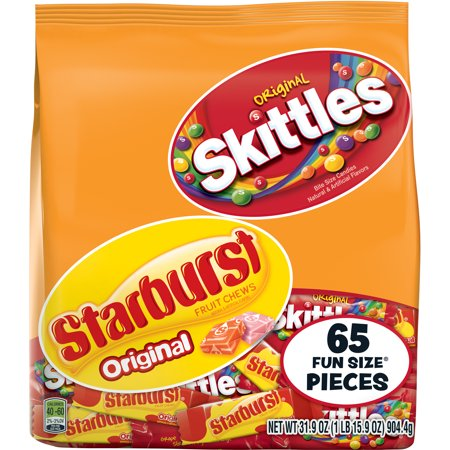Skittles And Starburst Original Candy Bag  65 Fun Size Pieces  31 9 Ounces