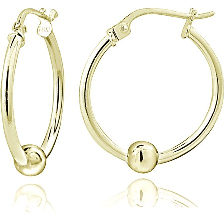 Gold-Tone over Sterling Silver Bead Round Hoop Earrings, 18mm