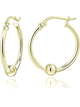 c9721a170 Product Image Gold-Tone over Sterling Silver Bead Round Hoop Earrings, 18mm