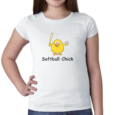 Softball Chick Cartoon Bird Swinging Softball Bat Girl's Cotton Youth T-Shirt