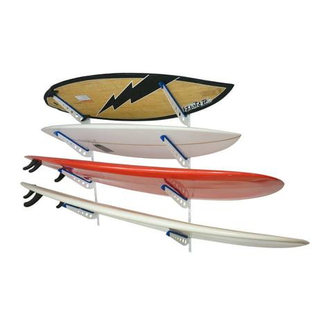 Metal Surf Storage Rack | Adjustable 4 Surfboard Wall Mount |