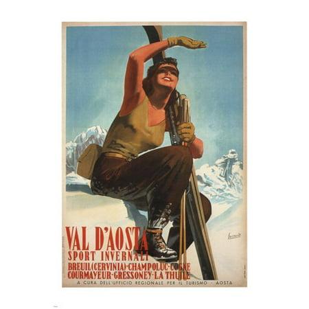 Aosta Valley Winter Sports Gino Boccasile Poster Italy 1947 24X36 Ski Adventure