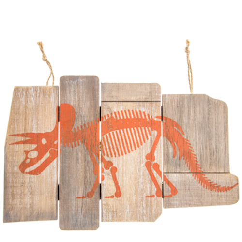 Triceratops Dinosaur Skeleton Wood Plank Wall Decoration Boys Room Kids Decor
