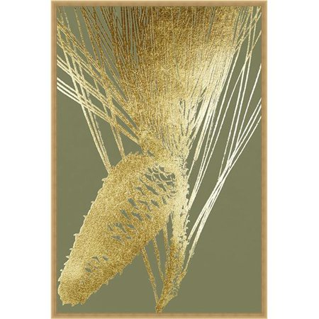 Somerset House Publishing 2267 Gold Foil Pine Cones II on Mid Green, Framed Textured Fine Art Print