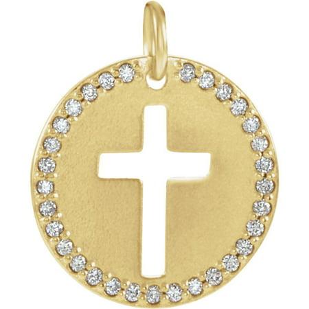 Roy Rose Jewelry 14K Yellow Gold .08-Carat tw Diamond Pierced Cross Disc Pendant Diamond Disc Pendant