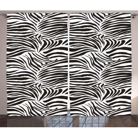 Zebra Print Decor Curtains 2 Panels Set, Striped Zebra Animal Print Nature Wildlife Inspired Fashion Simple Illustration, Living Room Bedroom Accessories, By Ambesonne](Wild Zebra)