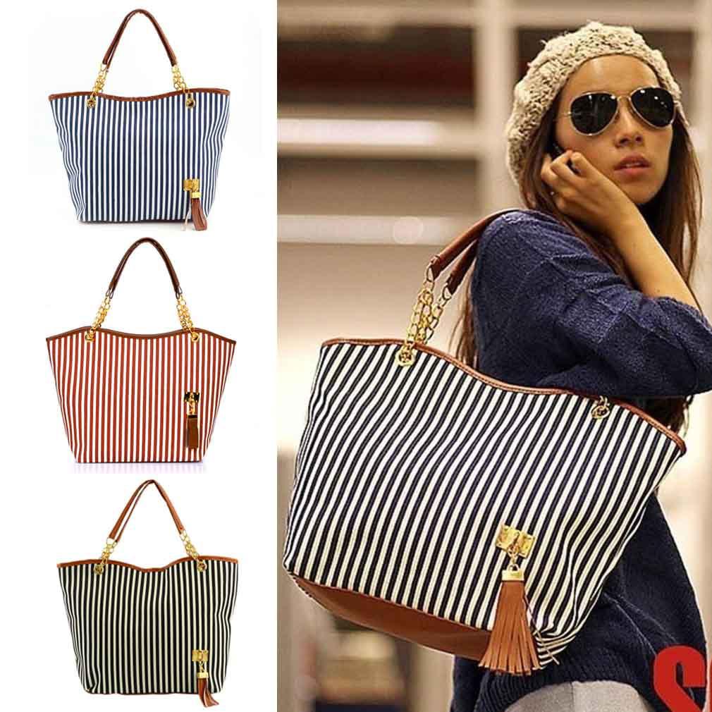 Fashionable Ladies Womens Canvas Plaid Handbags Girls Tote Satchel ...