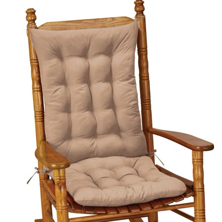 Quilted Rocking Chair Cushion Set Of 2 Tie Down Cushions Comfortable Design With On Accents Seat 19 5 X 17 And Back 23 75