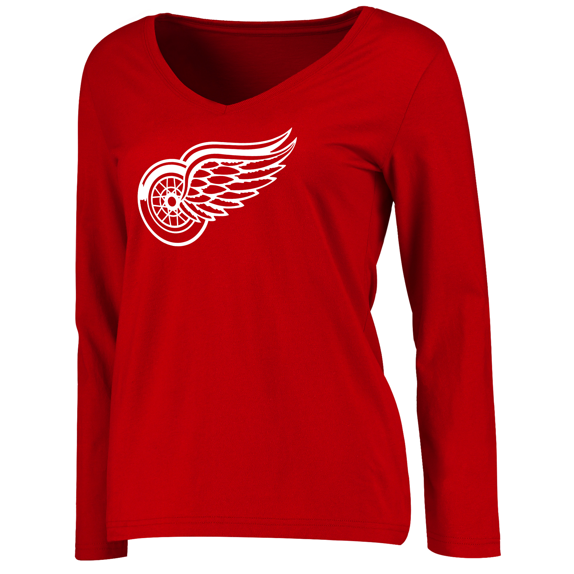 Detroit Red Wings Women's Primary Logo Long Sleeve T-Shirt Red by BOX SEAT CLOTHING CO.