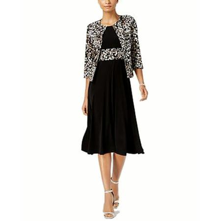 Jessica Howard Petite Leaf-Print Jacket & A-Line (Jessica Howard Floral Print Dress With Shrug)