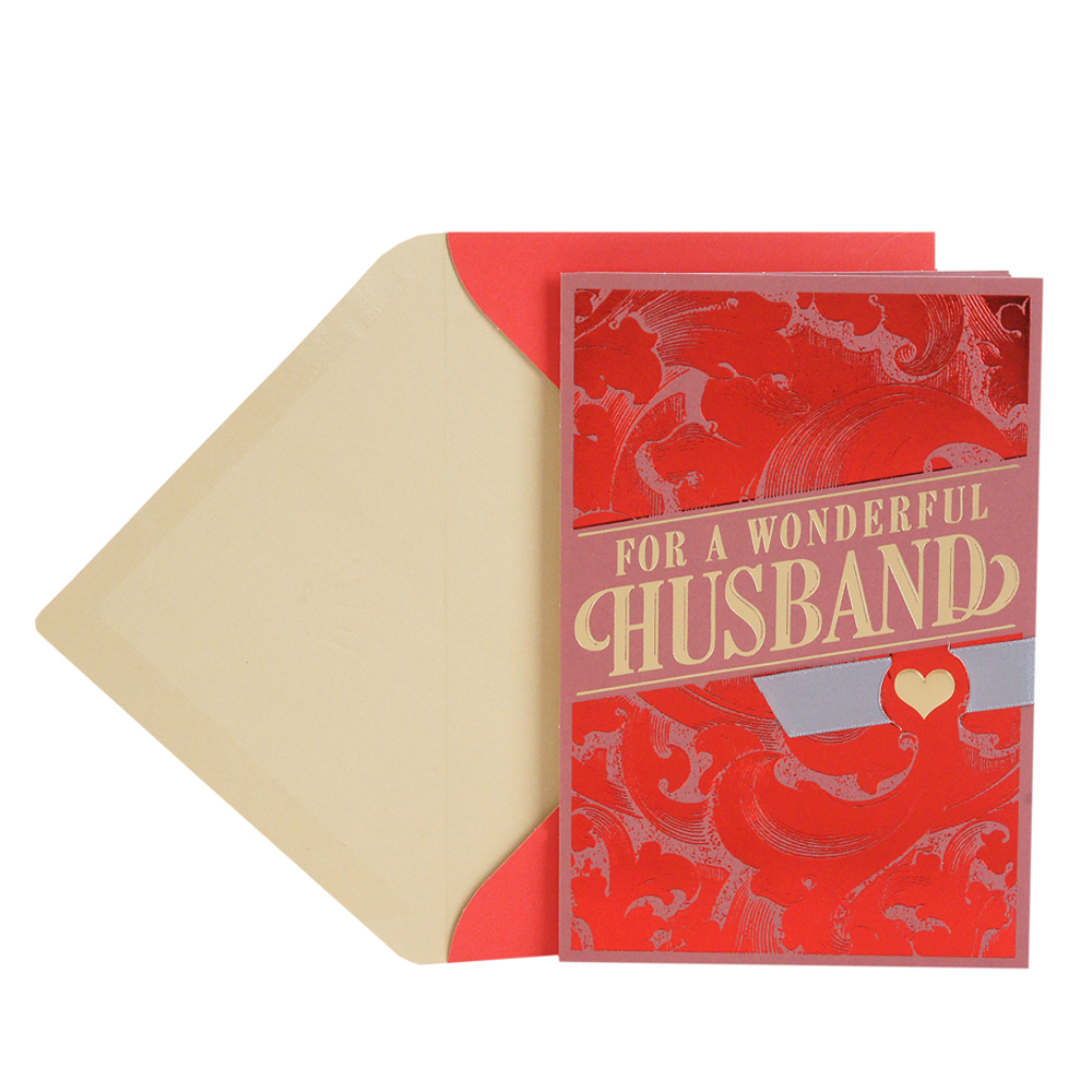 Hallmark Valentine's Day Card for Husband (Red Brush Scrolls)