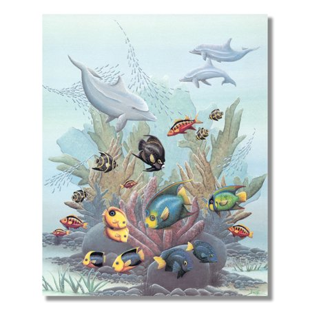 Exotic Fish w/ Dolphins in Ocean Coral Reef Wall Picture 8x10 Art Print