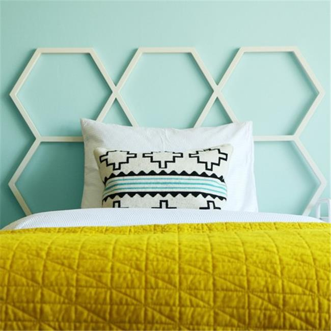 Walker Edison HBTHC1WH 48 x 53 inch Honeycomb Twin Size Headboard - White