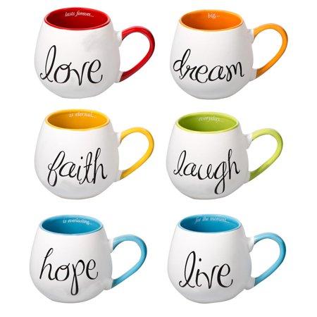 Inspired Words Colorful Ceramic Mugs - Set of Six: Love Dream Hope more - 17 oz. ()