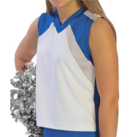 Pizzazz UT545 -WHTROY-2XL UT545 Adult Premier Flare Uniform Shell, White with Royal - 2XL - image 1 of 1