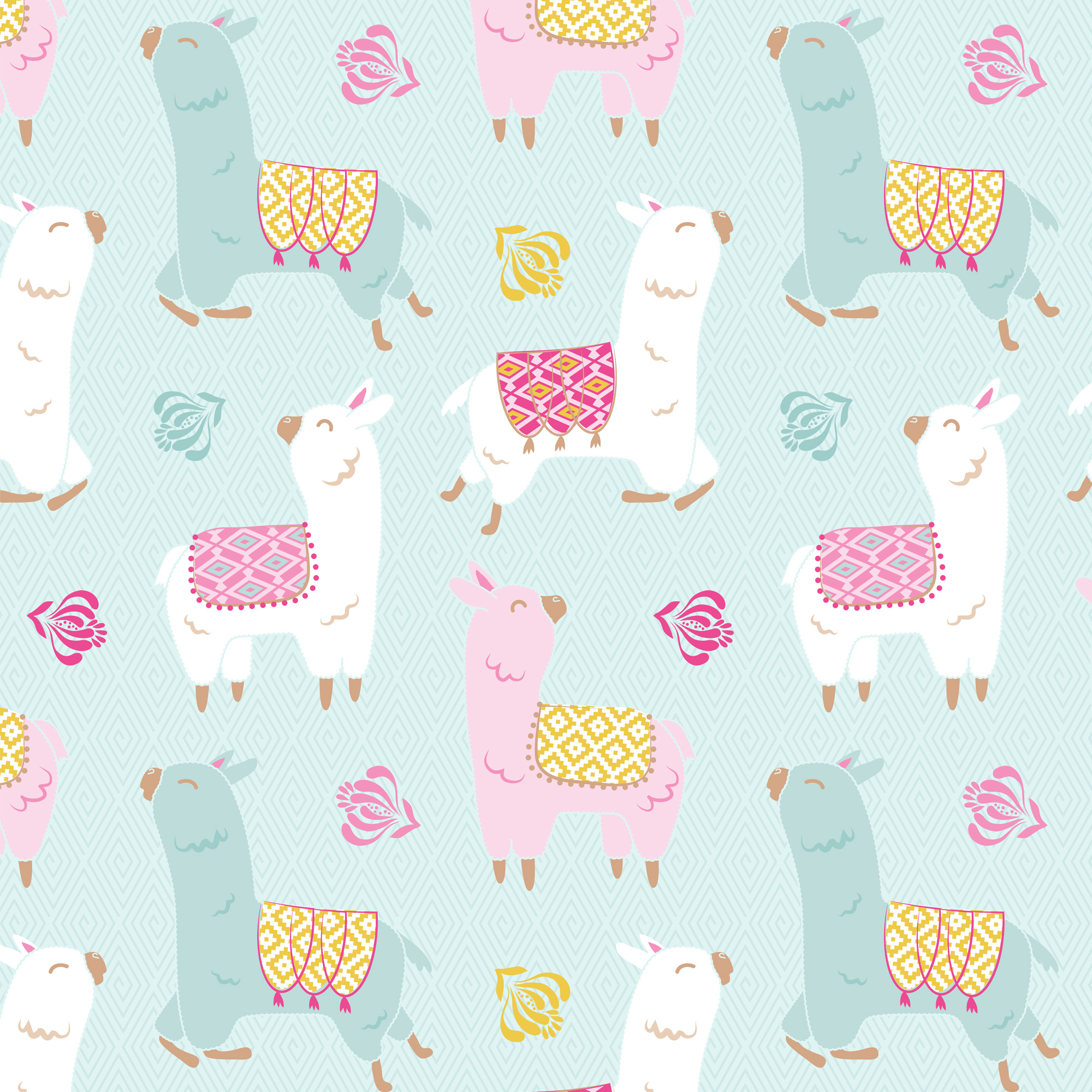 "David Textiles Fleece 60"" Anti-Pill Happy Llama Fabric, 1.5 Yd."