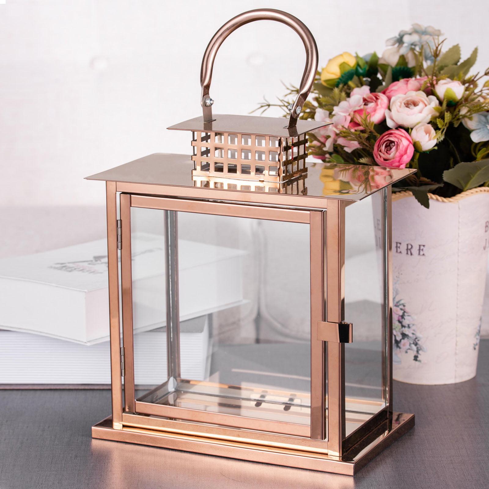 Tall metal lantern candle holder