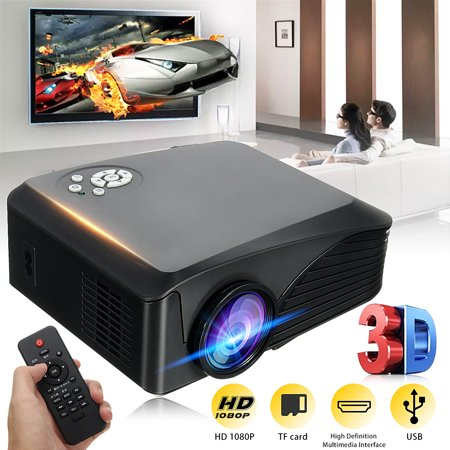 Home 2000 Lumens Mini Movie Projector Portable Projector Theater Home Cinema Theater Cinema with USB,TF , VGA , AV&TV input interfaces (Mini Projector 100 Lumens)