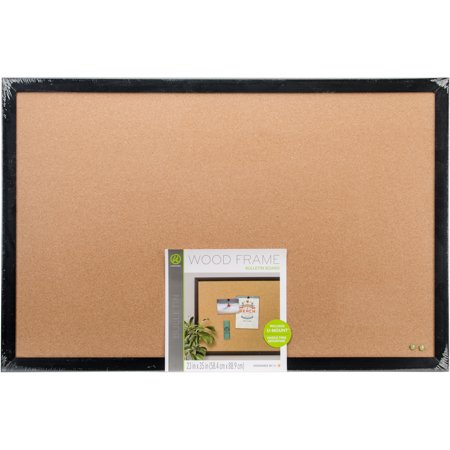 Cork Bulletin Board With Black Wood Frame 1/Pkg-35