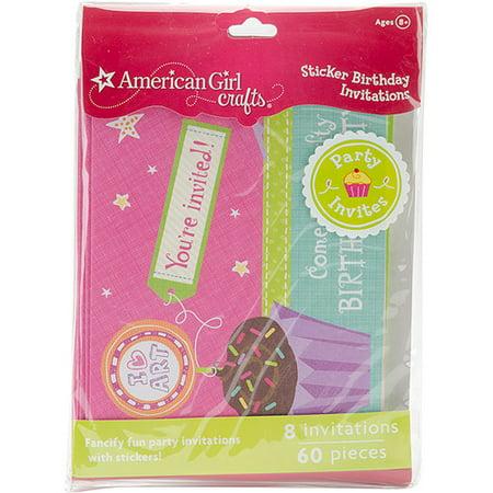 American Girl Crafts Sticker Birthday Invitations Walmart – American Girl Birthday Invitations