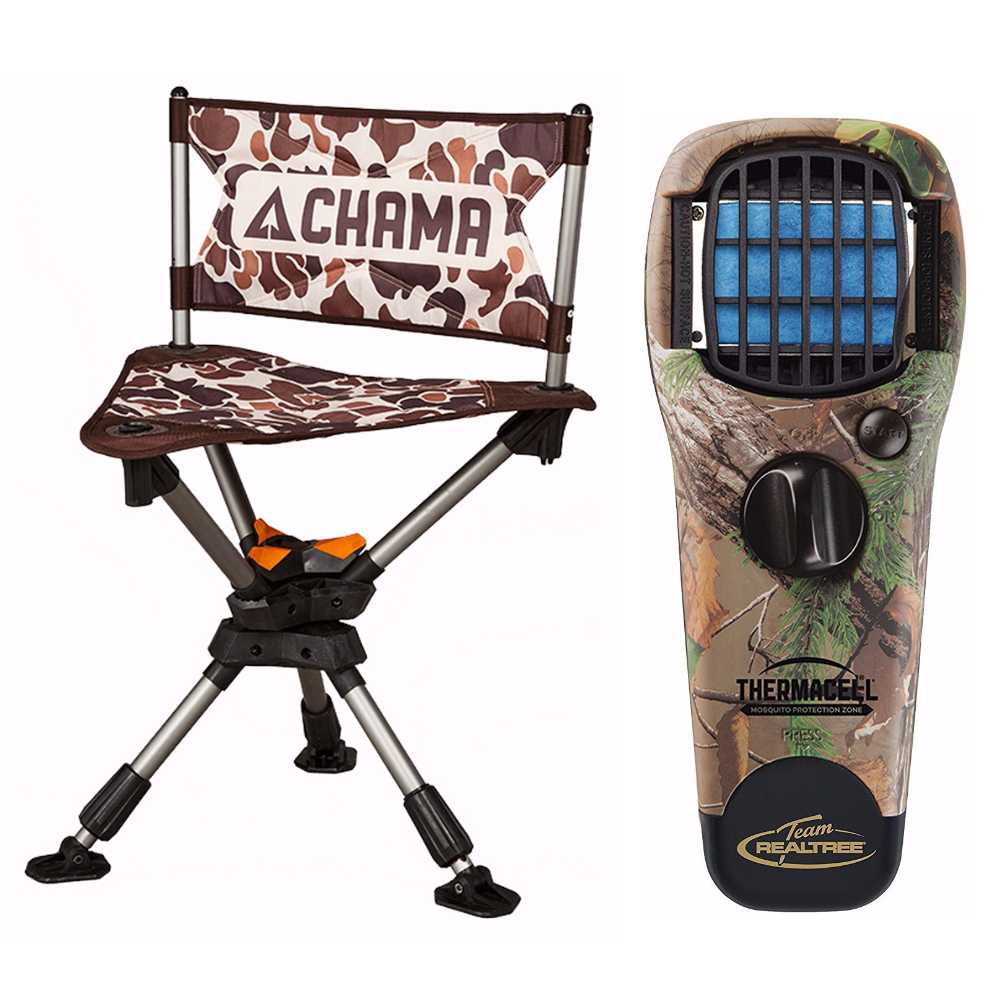 Click here to buy Chama Hunting Chair (Camo) with Thermacell Mosquito Repellant (Real Tree) by Chama Chair.
