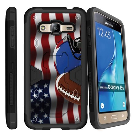 Samsung Galaxy J3, Galaxy Sky Dual Layer Shock Resistant MAX DEFENSE Heavy Duty Case with Built In Kickstand - USA Flag Football