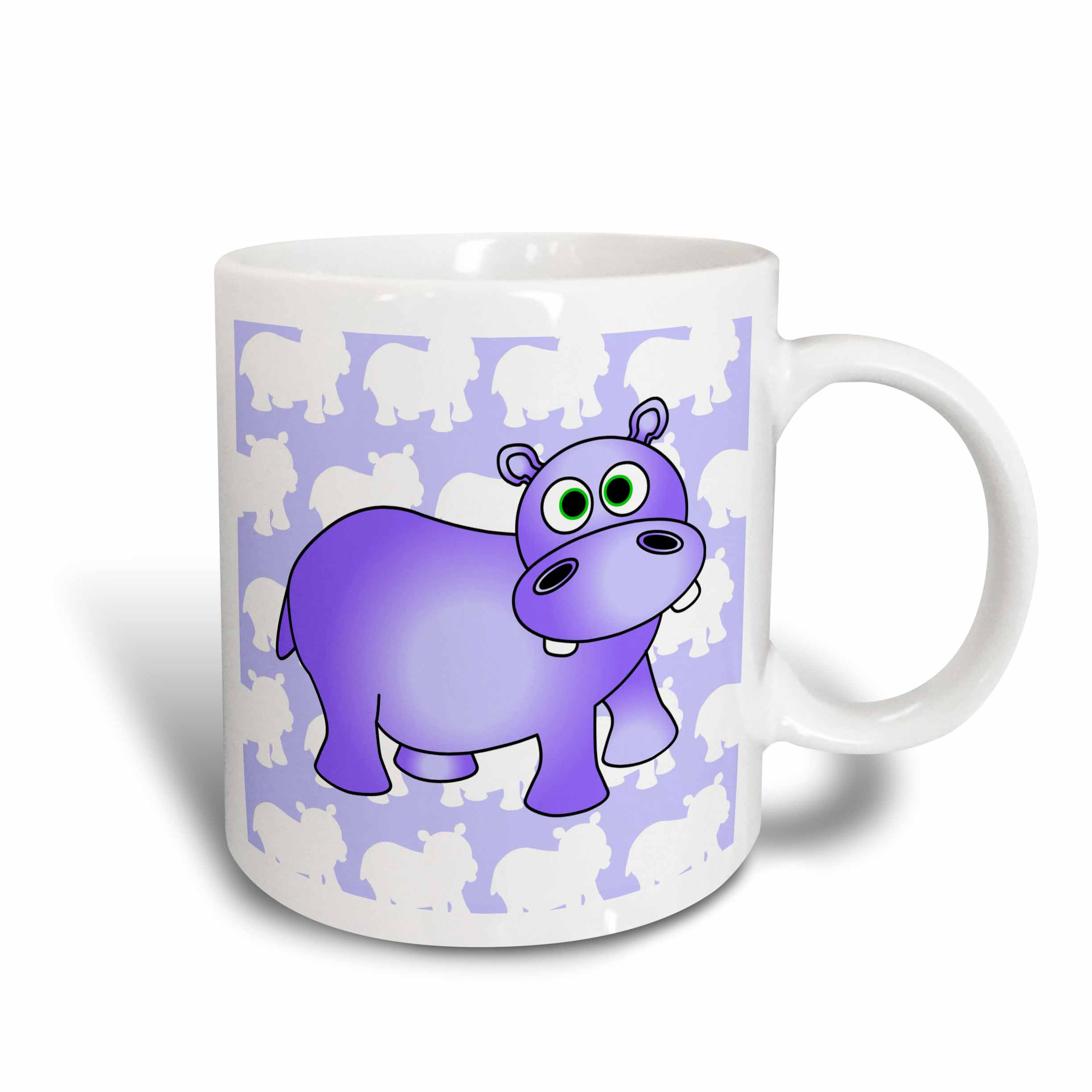 3dRose Pretty Purple Hippopotamus Cute Hippo, Ceramic Mug, 11-ounce