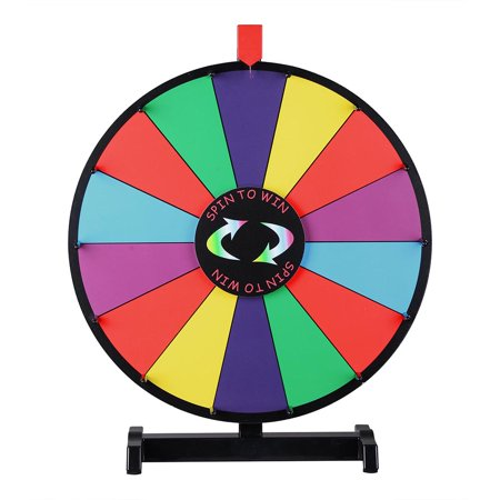 Black Clicker Tabletop Prize Wheel (24inch 14 Grids Color Prize Wheel Tabletop Spin Game Lucky Rotary Module)