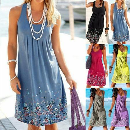 Women Summer Boho Short Midi Dress Cocktail Evening Party Beach Sundress New