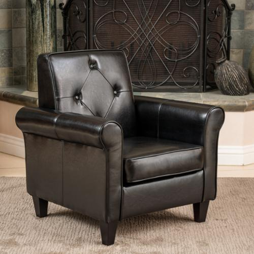 Jefferson Tufted Black Leather Club Chair