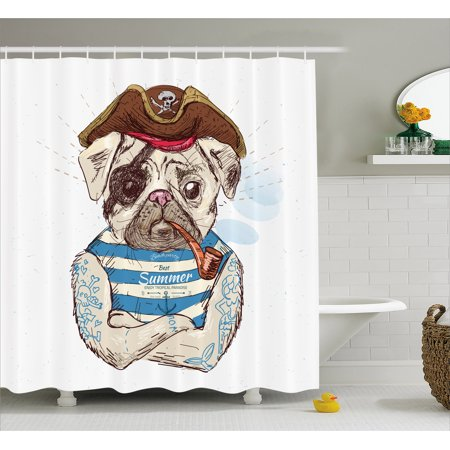 Pug Shower Curtain, Pirate Pug Conqueror of the Seas Pipe Skulls and Bones Hat Striped