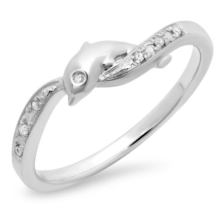 Dazzlingrock Collection 0.05 Carat (ctw) 10K Round Cut Diamond Ladies Right Hand Dolphin Ring, White Gold, Size -