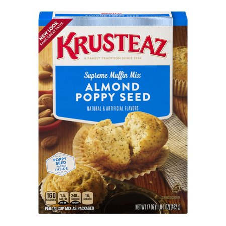(3 Pack) Krusteaz Almond Poppy Seed Supreme Muffin Mix, 17-Ounce (Best Ever Lemon Poppy Seed Muffins)
