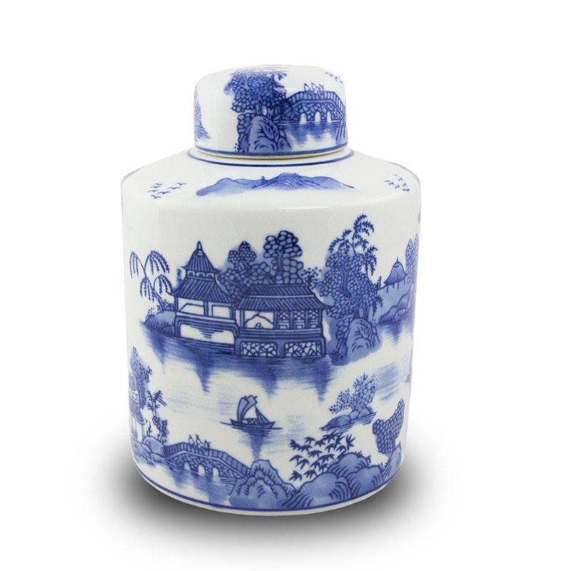 Porcelain Cremation Urn - Lakeside Paradise