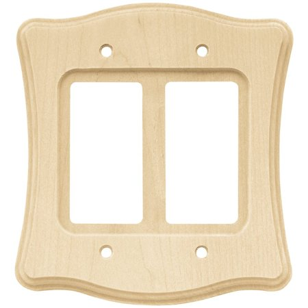 Franklin Covey Pda (64630 Wood Scalloped Double Decorator Wall Plate / Switch Plate / Cover, Unfinished, Made of birch wood for naturally beautiful and durability. By Franklin Brass Ship from US)