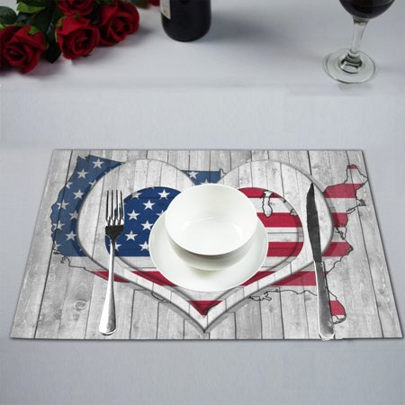 MYPOP American flag Map Wooden Background with Heart Placemat 12x18 Inches Non Slip Table Mat