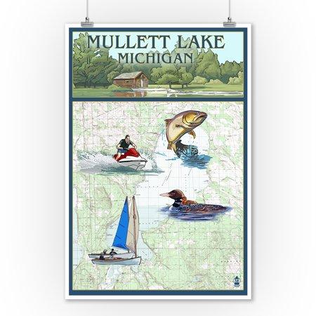 Mullett Lake, Michigan - Nautical Chart - Lantern Press Poster (9x12 Art Print, Wall Decor Travel Poster) ()