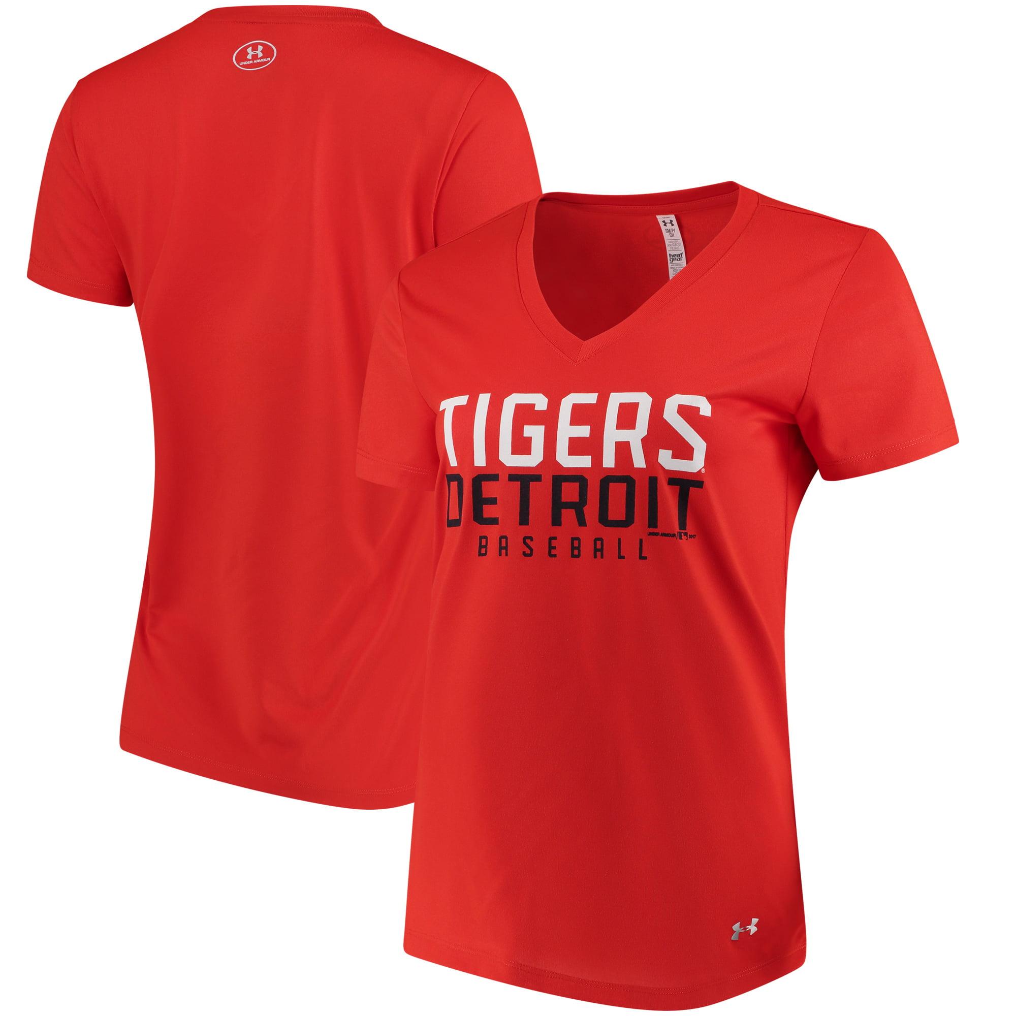 Detroit Tigers Under Armour Women's Tech Performance V-Neck T-Shirt - Orange