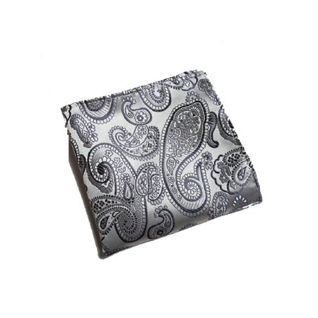 Vintage Men's Navy Blue Paisley Floral Pocket (Paisley Silk Pocket Square)