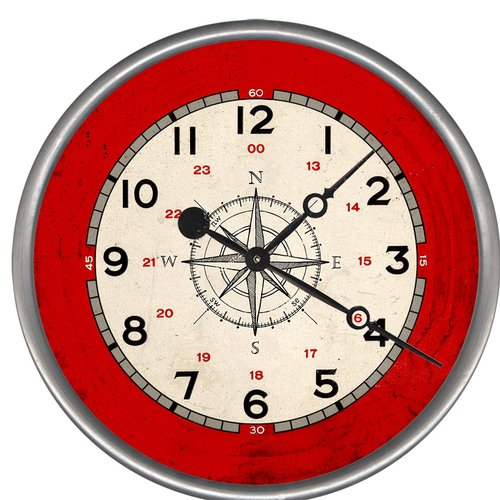 Breakwater Bay Woodsetter Compass Rose Wall Clock