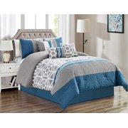 HGMart Bedding Comforter Set Bed In A Bag - 7 Piece Luxury Striped Microfiber Bedding Sets - Oversized Bedroom Comforters, Queen Size, Blue