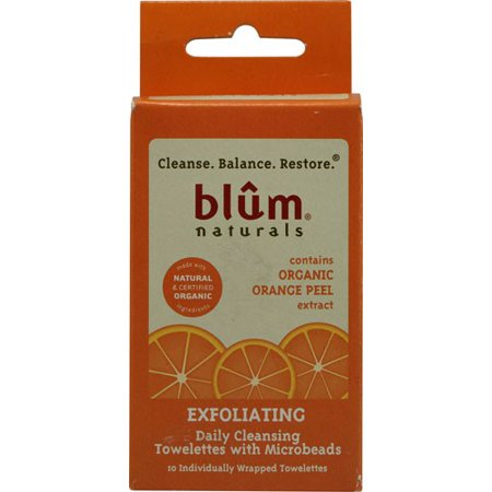 Blum Naturals Exfoliating Daily Cleansing Towelettes with Microbeads 10 Towelettes