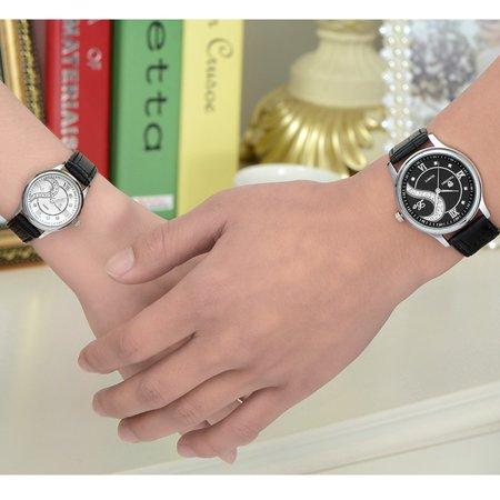 Couple Watch - 1 Pair Tiannbu Ultrathin Leather Romantic Fashion Couple Wrist Watches