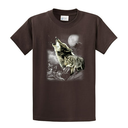 Wolf T-Shirt Wolves In The Wild Howling-brown-xxl