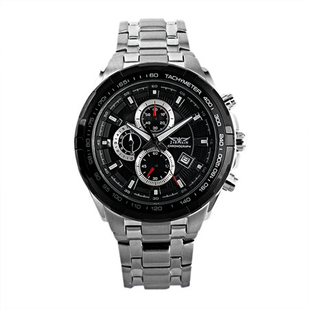 3 Dials Display Black Automatic Mens Watch Self-winding Man Stainless Steel Case