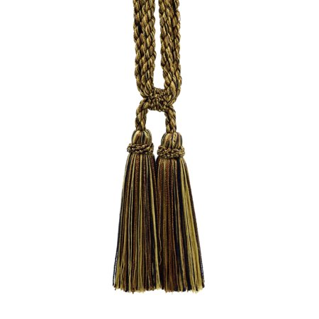 Beautiful Brown, Gold, Black Curtain & Drapery Double Tassel Tieback|5 1/2