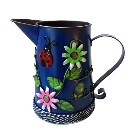 Handmade Iron Watering Can Vase Pitcher Holder with Raised Flowers Ladybug Butterfly Dragonfly Ladybug, 4 colors available, Steel Blue ()