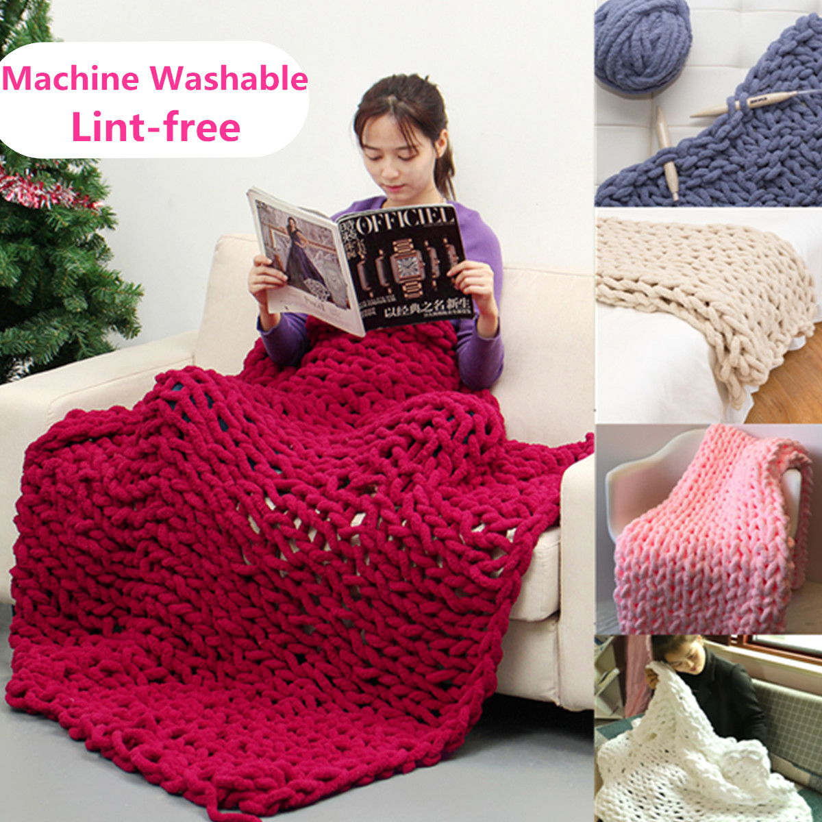 5 Sizes Warm Soft Chunky Hand-woven Knit Blanket Bulky Thick Yarn Knitted Bed Sofa Throw Rug - Washable & Lint-free