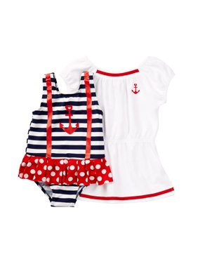 60786d0aa9 Product Image Baby Buns Little Girls Nautical Babe Swimsuit & Coverup Set 2T